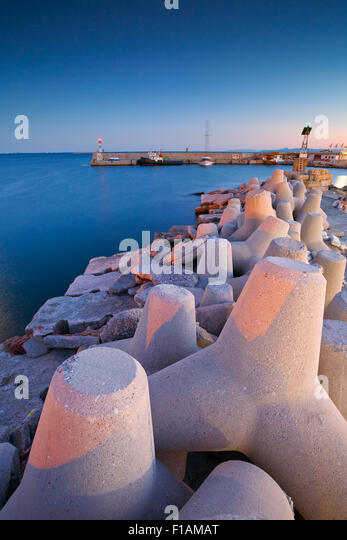 Breakwater in Mikrolimano marina in Athens, Greece. - Stock Image