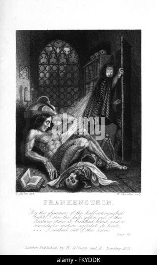 Frankenstein by Mary Shelley. Theodore von Holst's illustration on the inside cover of the 3rd edition of Mary - Stock Image