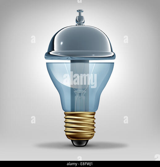 Creative services concept as a three dimensional lightbulb shaped as a customer hospitality service bell as a business - Stock-Bilder