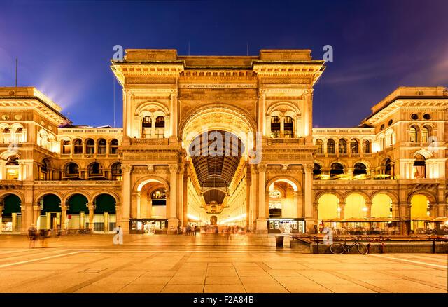 Vittorio Emanuele II Gallery in Milan, Italy - Stock Image