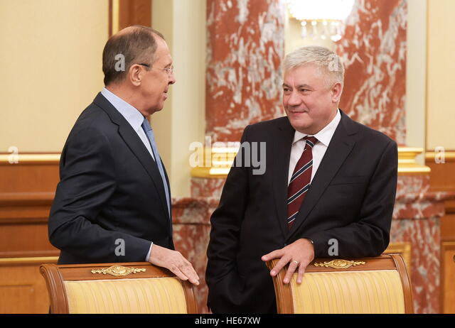 Moscow, Russia. 19th Dec, 2016. Russia's Foreign Minister Sergei Lavrov (L) and Russia's Interior Minister - Stock Image