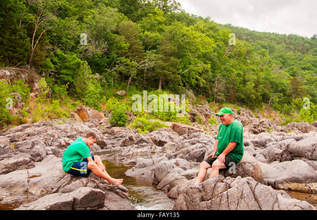 man and boy beautiful landscape - Stock Image