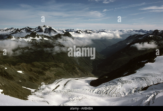 Viedertal, from the summit of Similaun, Ötztal Alps, Austria - Stock Image