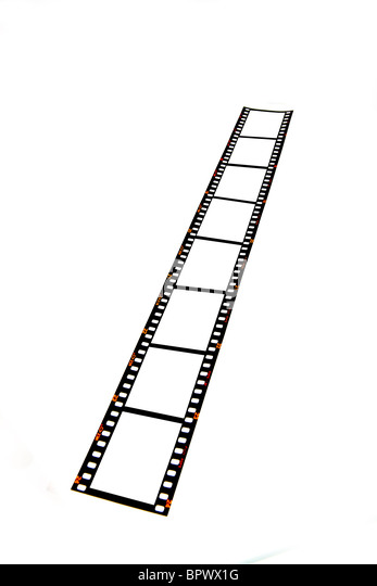 Blank 35mm film strip on a white background ready for your images to be inserted, Fuji Pre-digital from 1980s/1990s. - Stock Image
