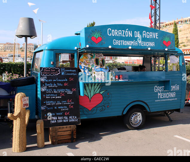 Port Adriano Street Food Festival - Mexican food stall / caravan -  Port Adriano marina, El Toro, Calvia, South - Stock Image
