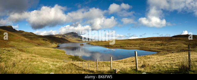 Panoramic Of The Old Man Of Storr, Isle Of Skye, Scotland - Stock Image