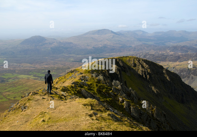The Snowdonia mountains from the summit of Moel Druman in the Moelwyn hills, Snowdonia, North Wales, UK - Stock Image