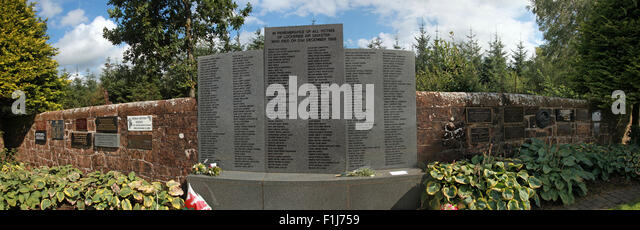 Wide shot of the Lockerbie PA103 memorial with names of the dead,in summer,Scotland,UK - Stock Image