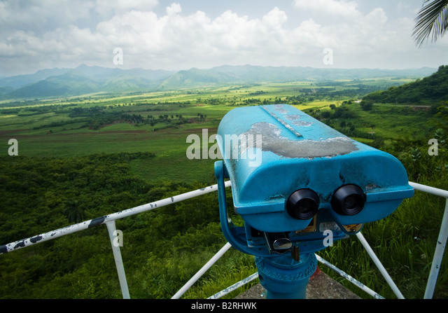 Viewpoint and binoculars at the viewpoint overlooking Valle de los Ingenios a former sugar producing area near Trinidad, - Stock Image