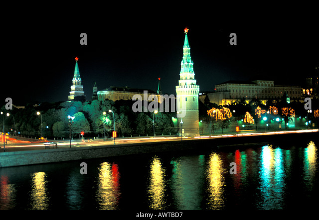 Moscow Russia Kremlin at Night - Stock Image
