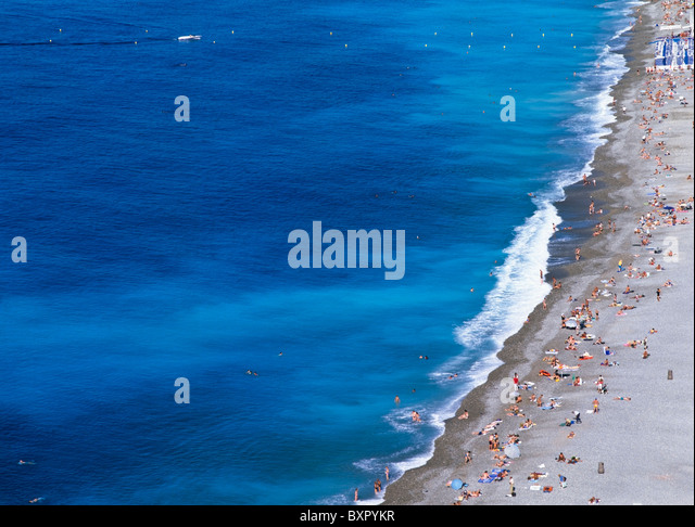 People On Beach, Aerial View - Stock Image