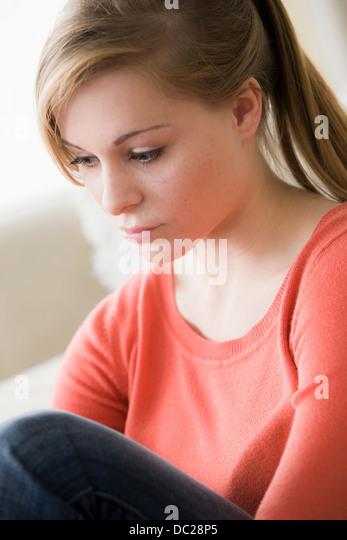 Sad teenage girl - Stock Image