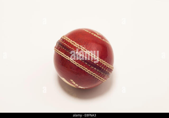 Red Cricket ball - Stock Image