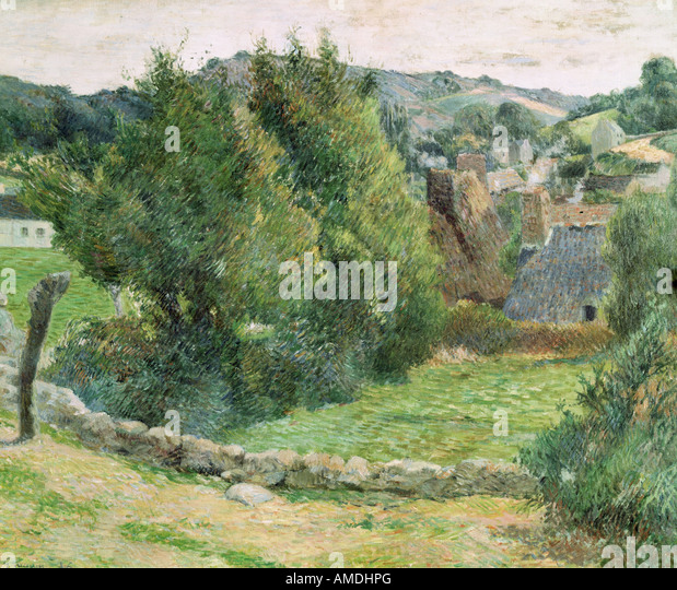 fine arts, Gauguin, Paul (1848 - 1903), painting, landscape at Pont-Aven, oil on canvas, private collection, French, - Stock Image