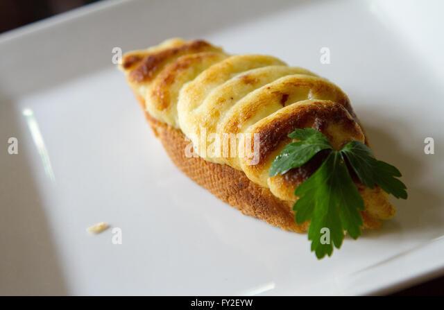 Salted cod tapas Spanish style - Stock Image