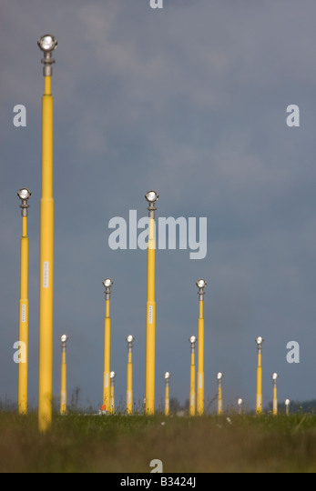 London Heathrow Airport landing lights. - Stock Image