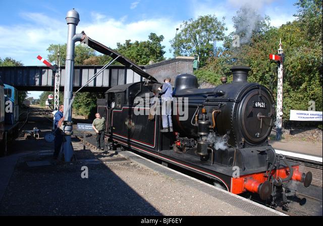 A.J.Hill designed 0-6-2T tank engine at Sheringham Station, North Norfolk Railway. - Stock Image