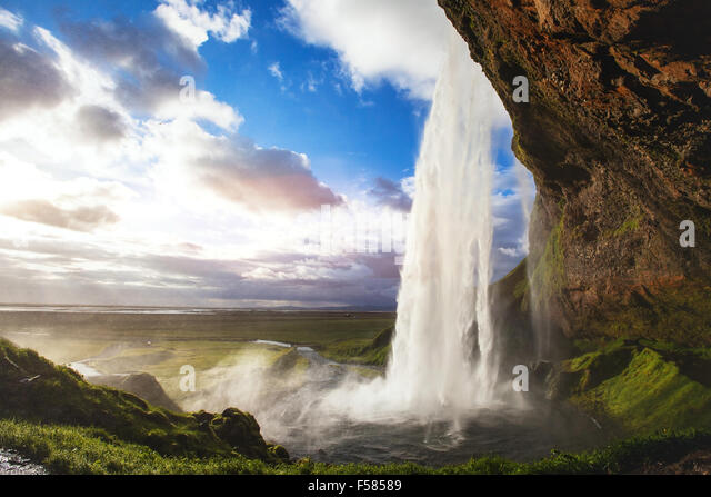 beautiful amazing landscape from Iceland, Seljandafoss waterfall - Stock Image