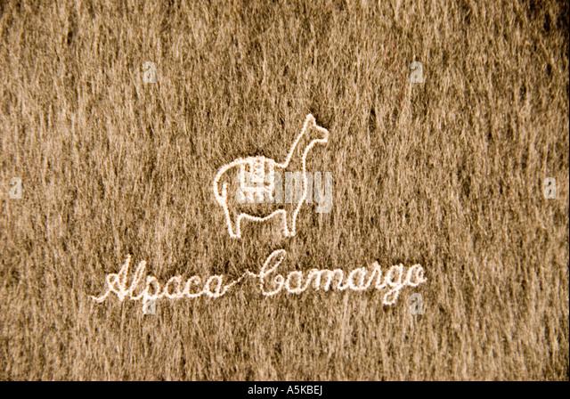 Chile San Pedro de Atacama shopping alpaca wool souvenirs desert Andes Highlands - Stock Image