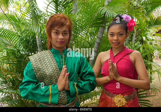 Typical local greeting, Thailand, Asia - Stock-Bilder