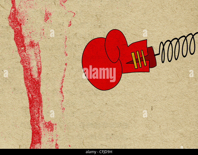 boxing glove on old paper - Stock Image