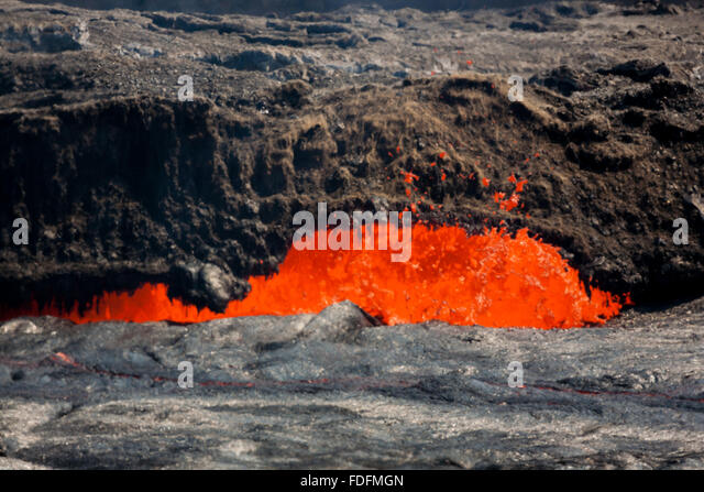 Intense heat haze masks activity at a vent at the edge of Erta Ale's lava lake - Stock Image