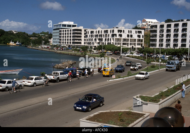 West Indies St. Lucia Castries John Compton Highway traffic government buildings - Stock Image