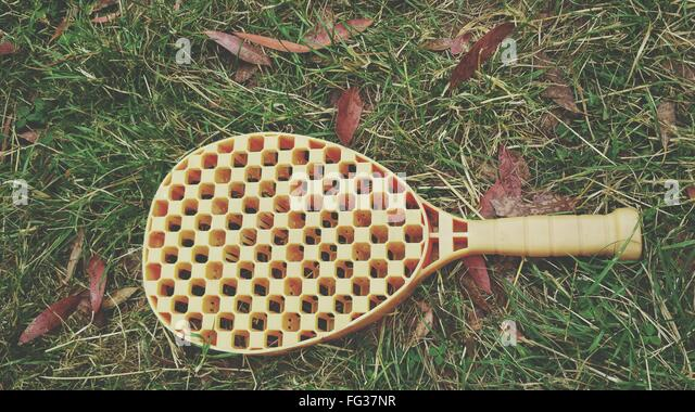 View Of Plastic Tennis Racket - Stock Image