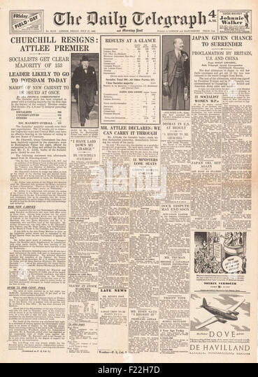 1945 Daily Telegraph front page reporting Clement Attlee and Labour Party Win General Election and Winston Churchill - Stock Image