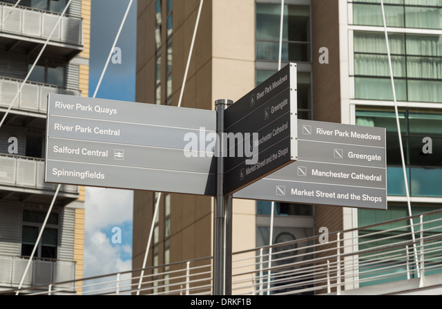 Notice board to Manchester attractions, front of Lowry Hotel, Manchester, England - Stock-Bilder
