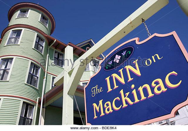 Michigan Mackinac Island Mackinaw Mackinac Historic State Parks Park Straits of Mackinac Lake Huron Main Street - Stock Image