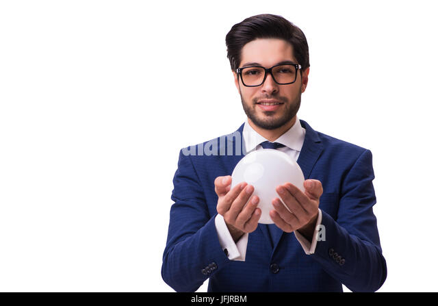 Businessman with crystall ball isolated on white background - Stock Image