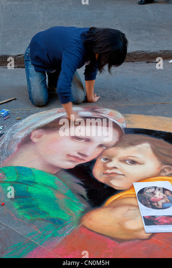 Europe, Italy, Florence, Street artist Painter - Stock Image