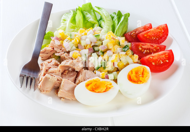 low calorie tuna salad with egg - Stock Image