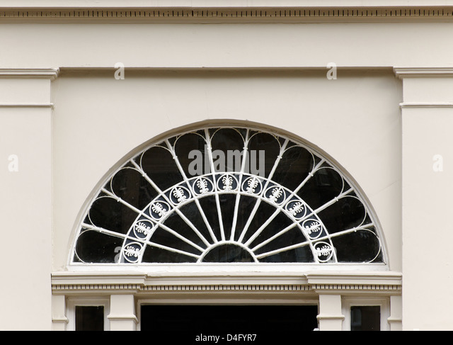 Georgian fanlight on doorway of house, Edinburgh, Scotland - Stock Image
