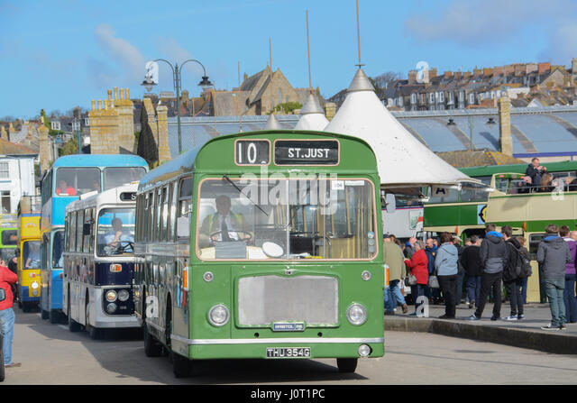 Penzance, Cornwall, UK. 16th April 2017. The annual Easter vintage bus day at Penzance, organised by the Western - Stock Image