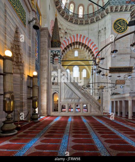 Marble floral golden ornate minbar (Platform) and niche , Suleymaniye Mosque, Istanbul, Turkey - Stock Image