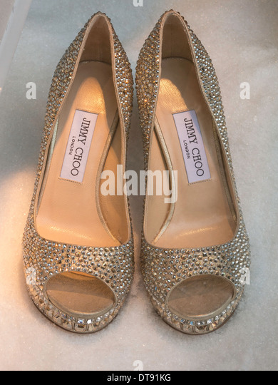 Pair of Jimmy Choo High Heel Shoes, Saks, NYC, USA - Stock Image