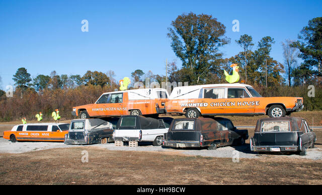 Hearses and Metal Chickens at a haunted house in Heflin Alabama - Stock Image
