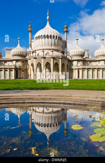 Brighton Royal Pavilion with reflection, Brighton, East Sussex, England, United Kingdom, Europe - Stock Image