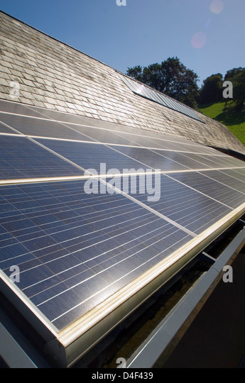Close up of solar panels outdoors - Stock Image