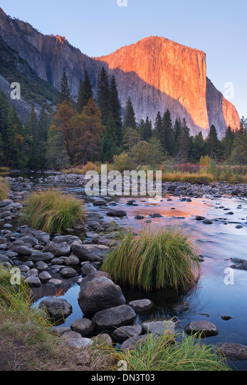 Evening sun setting on El Capitan above the Merced River, Yosemite Valley, Yosemite National Park, California, USA. - Stock Image