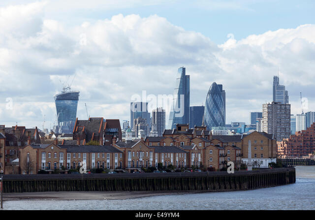 View of the City of London skyline, including the Gherkin and the Walkie Talkie, taken from Canary Wharf, London, - Stock Image