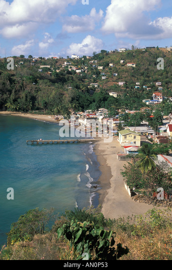 aerial above st lucia island caribbean islands scenic overview showing the coastline at the fishing town of anse - Stock Image