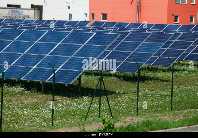 Solar panels, collectors, solar, solar energy power station in Litovel, Czech Republic. - Stock Image