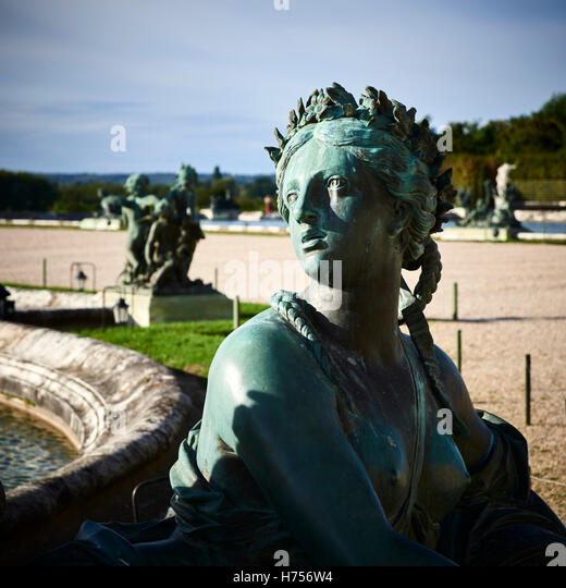 Female statue at Palace de Versaille, France - Stock Image