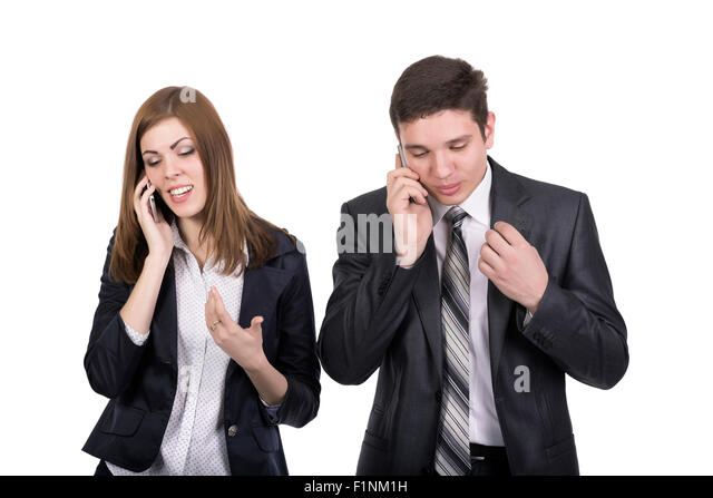 Telecommunications Business People Man and Woman - Stock Image