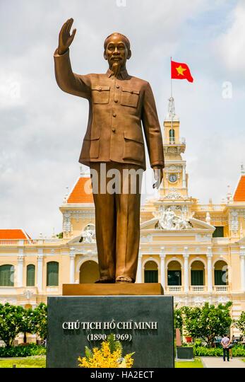 Ho Chi Minh Statue People's Committee Building Saigon Vietnam - Stock Image