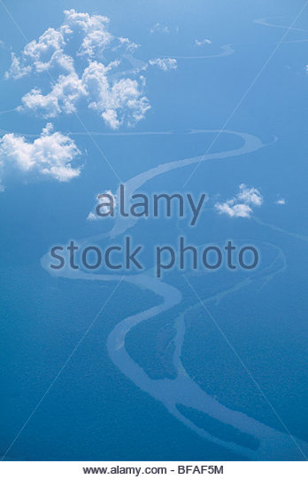 Tributaries of Congo River (aerial), Democratic Republic of Congo - Stock-Bilder