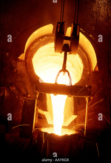 Ironworks Steel and Iron Production Factory Industry Tapping of Smelter Raw Iron - Stock Image